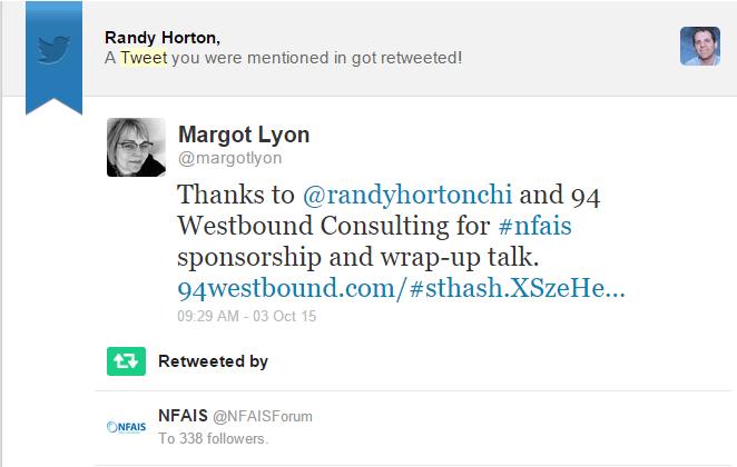 NFAIS Tweet - October 2015