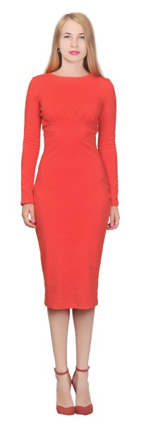 MARYCRAFTS WOMENS CLASSIC MIDI DRESS LONG SLEEVE SHEATH