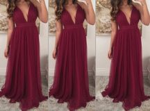 Burgundy Prom Dresses,Chiffon Prom Gown,Wine Red Prom ...