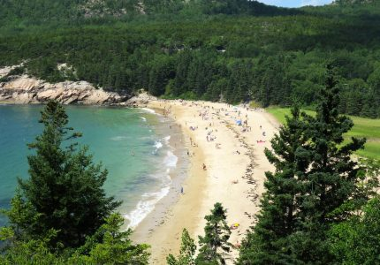 View of Sand Beach from Great Head at Acadia National Park