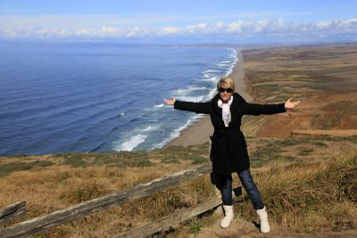 The adult woman at the Point Reyes National seashore in California.