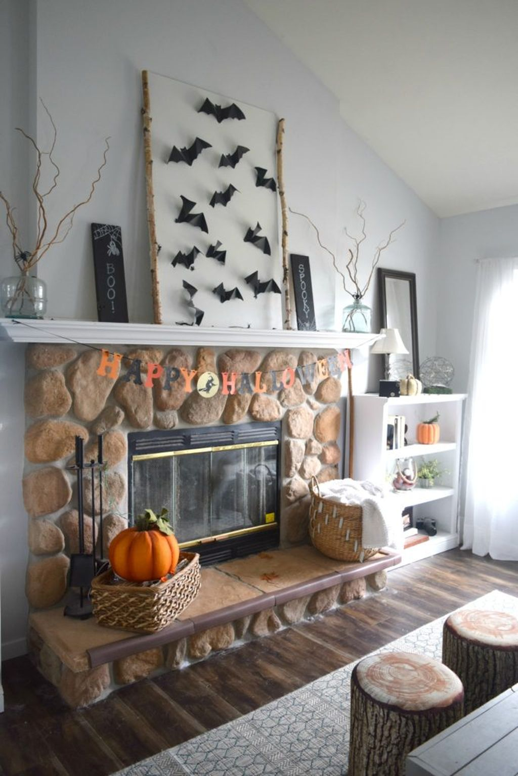 Scary But Classy Halloween Fireplace Decoration Ideas 16