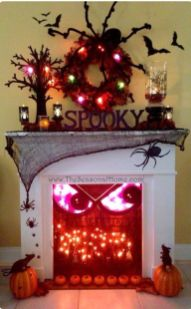 Scary But Classy Halloween Fireplace Decoration Ideas 17