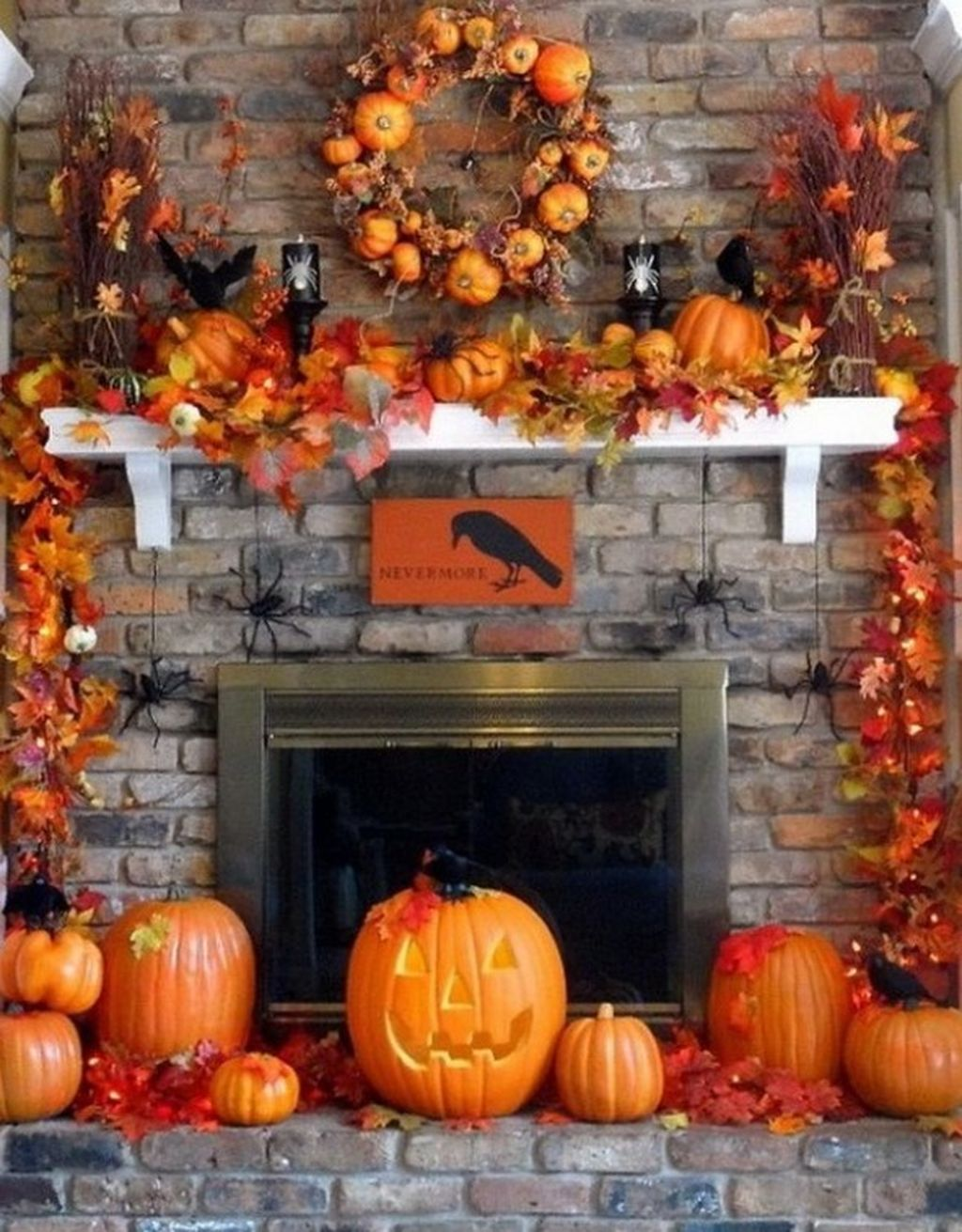 Scary But Classy Halloween Fireplace Decoration Ideas 21