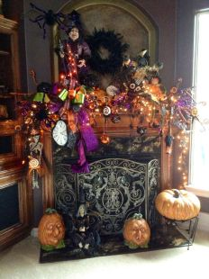 Scary But Classy Halloween Fireplace Decoration Ideas 61