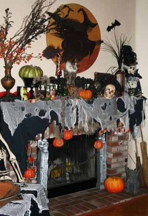 Scary But Classy Halloween Fireplace Decoration Ideas 73