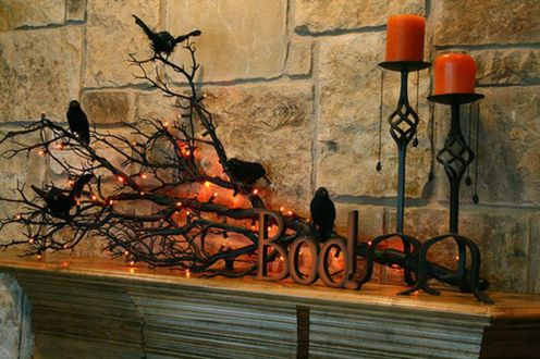 Scary But Classy Halloween Fireplace Decoration Ideas 82