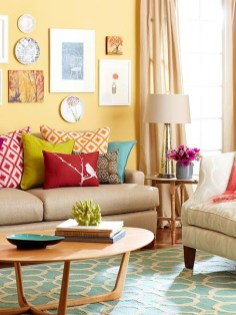 Bright And Colorful Living Room Design Ideas30