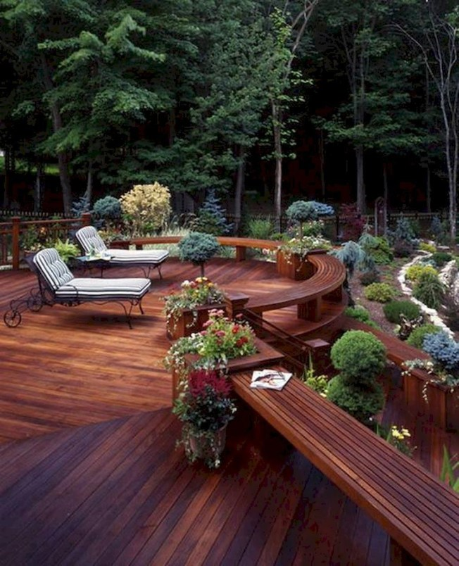 Gorgeous Wooden Deck Porch Design Ideas 36