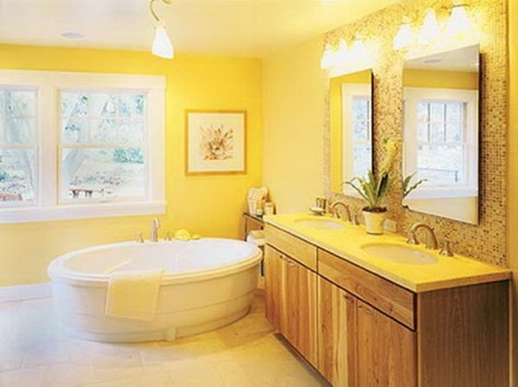 Lovely Sunny Yellow Bathroom Design Ideas 34