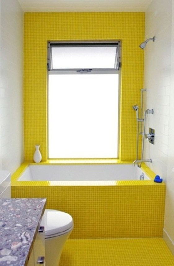 Lovely Sunny Yellow Bathroom Design Ideas 43