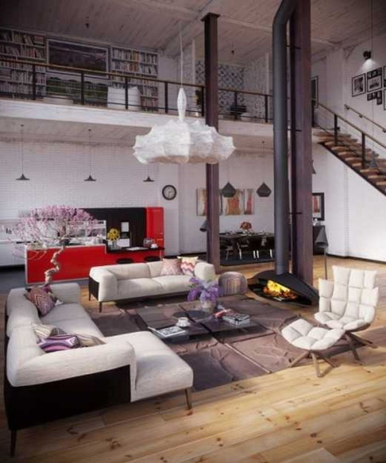 Elegant Loft Style Living Room Design Ideas For Winter 27