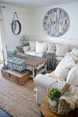 Cute Shabby Chic Farmhouse Living Room Decor Ideas 24