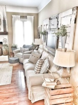 Cute Shabby Chic Farmhouse Living Room Design Ideas 16