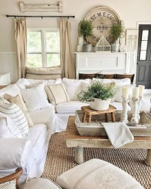 Cute Shabby Chic Farmhouse Living Room Design Ideas 29