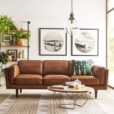 Fancy Leather Living Room Furniture Design Ideas 34