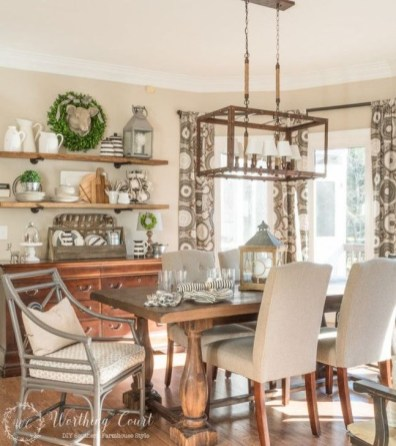 Romantic Rustic Farmhouse Dining Room Makeover Ideas23