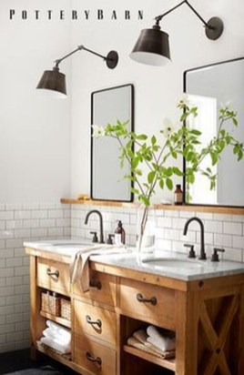 Cute Farmhouse Bathroom Remodel Ideas On A Budget26