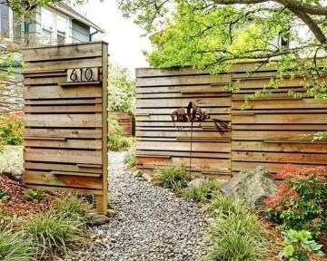 Stylish Wooden Privacy Fence Patio Backyard Landscaping Ideas13