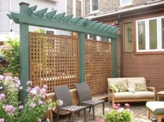 Stylish Wooden Privacy Fence Patio Backyard Landscaping Ideas39
