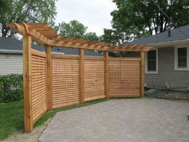Stylish Wooden Privacy Fence Patio Backyard Landscaping Ideas41