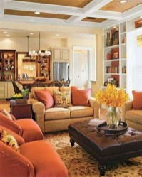 Relaxing Living Room Design Ideas With Orange Color Themes 06