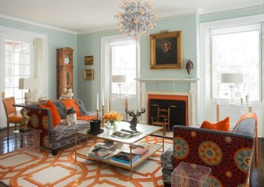 Relaxing Living Room Design Ideas With Orange Color Themes 11