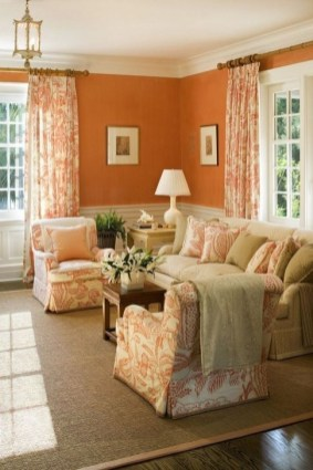Relaxing Living Room Design Ideas With Orange Color Themes 13