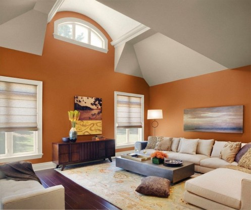 Relaxing Living Room Design Ideas With Orange Color Themes 15