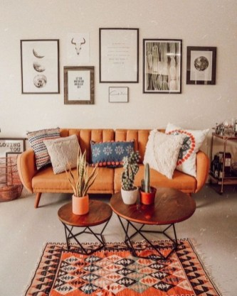 Relaxing Living Room Design Ideas With Orange Color Themes 16