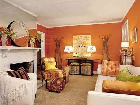 Relaxing Living Room Design Ideas With Orange Color Themes 27