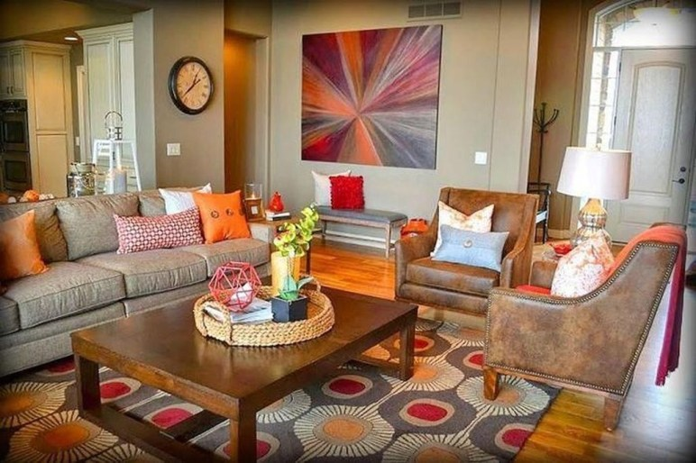 Relaxing Living Room Design Ideas With Orange Color Themes 30
