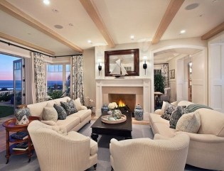 Relaxing Living Room Design Ideas With Orange Color Themes 42