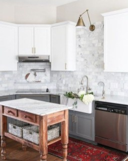Fancy Painted Kitchen Cabinets Design Ideas With Two Tone 25