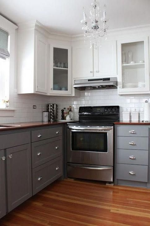Fancy Painted Kitchen Cabinets Design Ideas With Two Tone 27