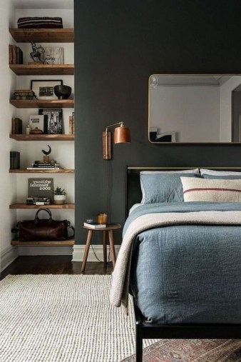 Delightful Bedroom Designs Ideas With Dark Wall That Breaks The Monotony 37