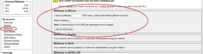 How to withdraw Bitcoins