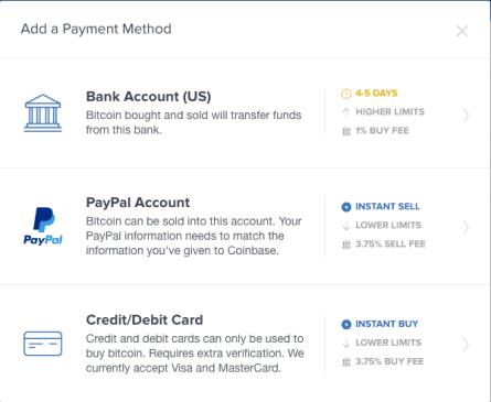 Coinbase credit / debit option