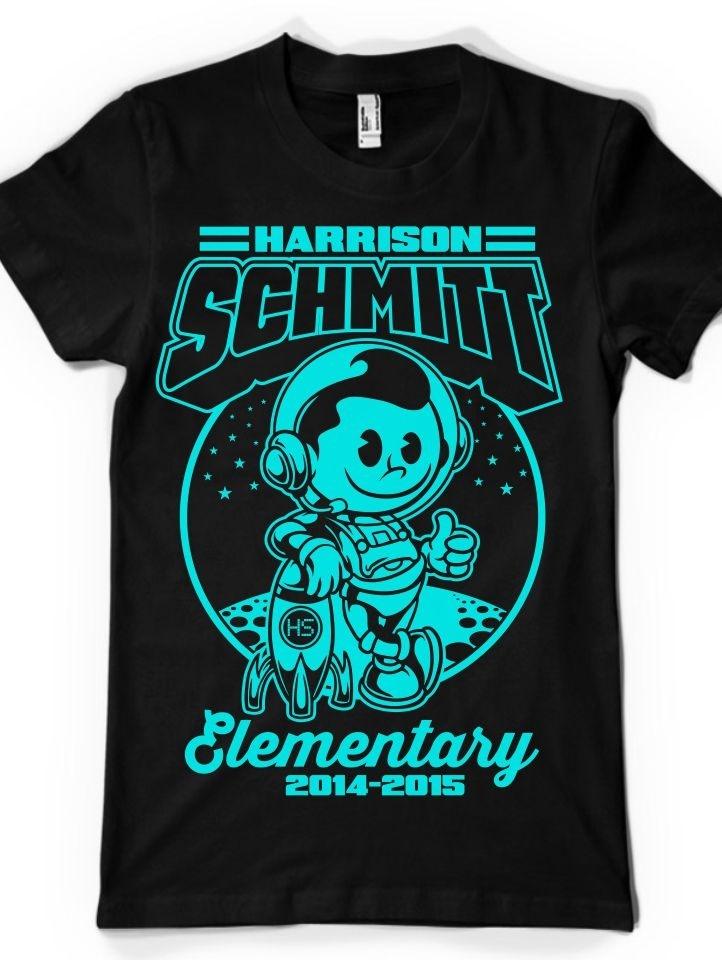 Cartoon t-shirt illustration for an elementary school