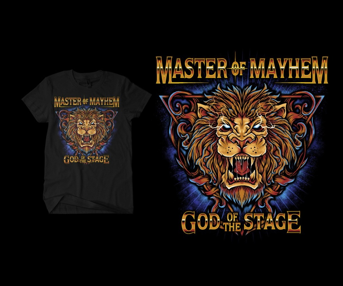 Heavy metal style t-shirt illustration of a lion