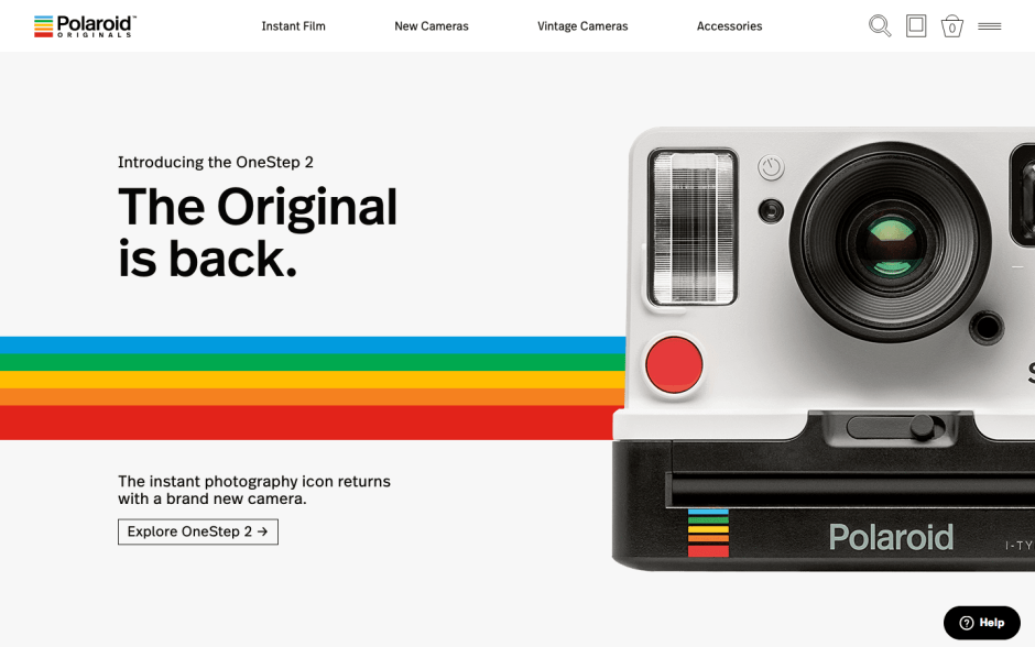 Polaroid website screenshot
