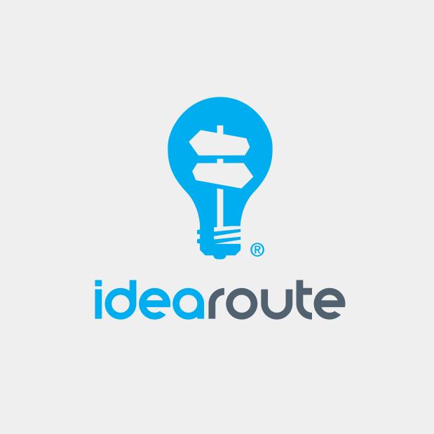 Lightbulb logo design for idearoute