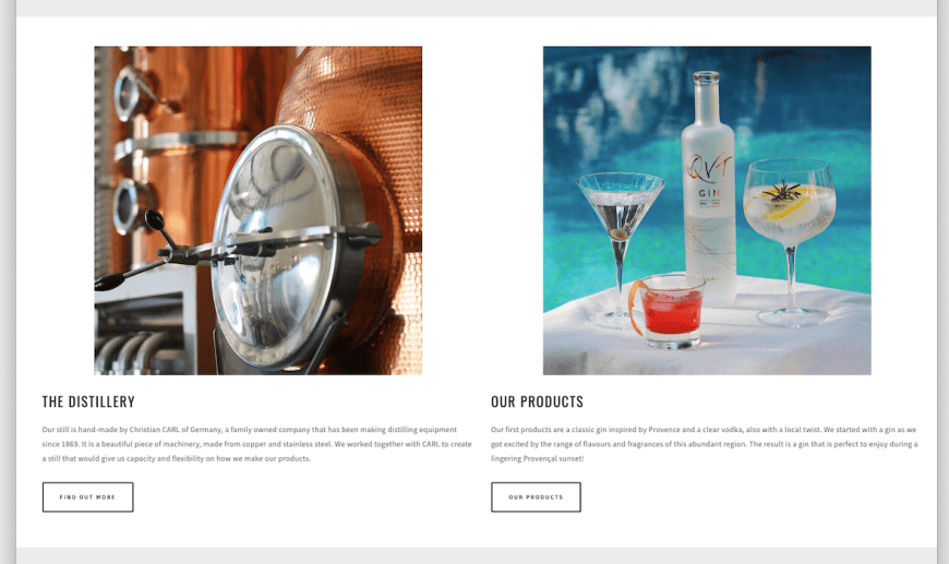 Web design trends 2020 example: web design with white space framing images