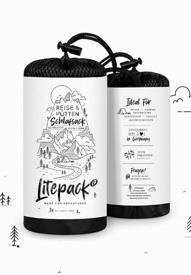 Product label for white and black line drawings for a sleeping bag