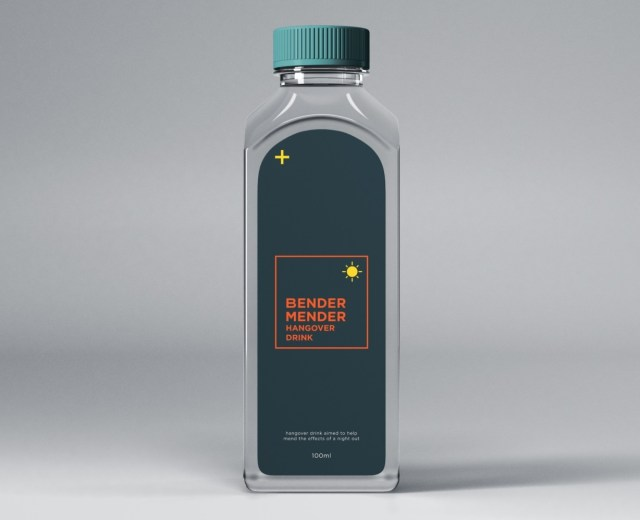 A dark blue and orange colored label of a bottle