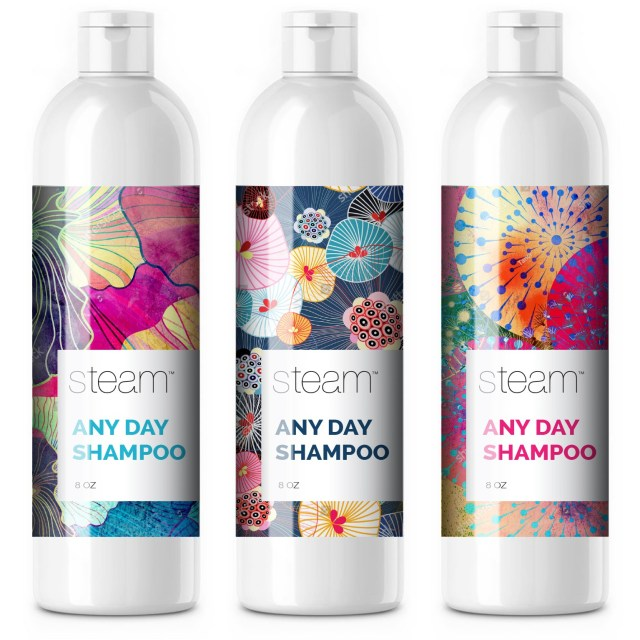 White shampoo bottles with colored labels
