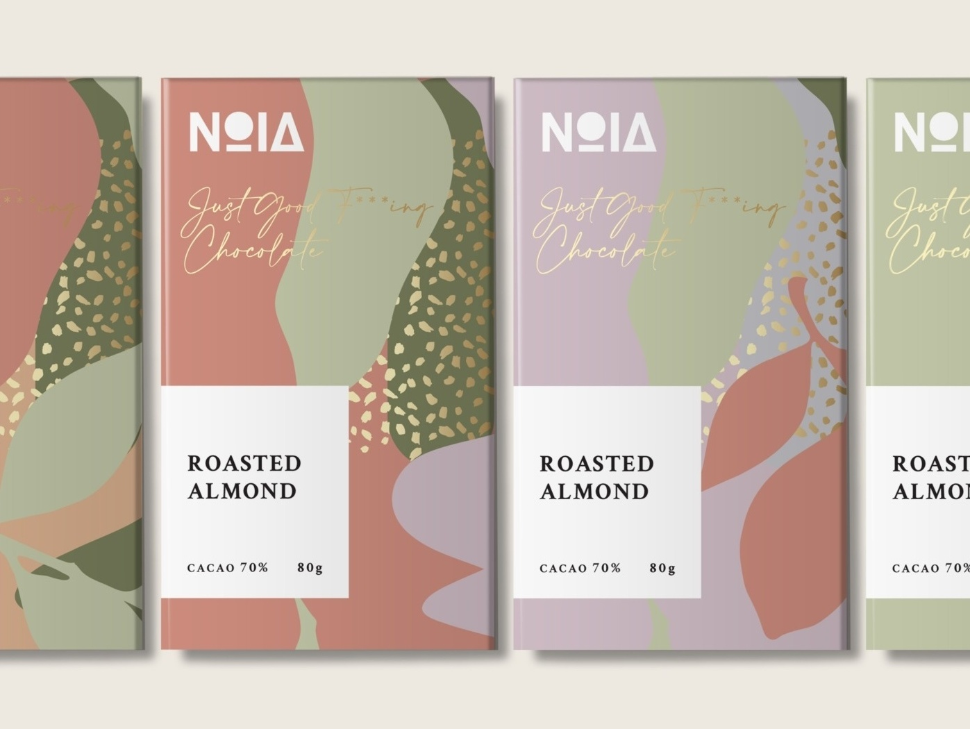 Abstract packaging design for chocolates with floral elements
