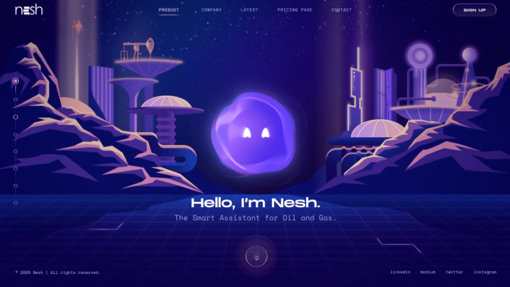 Purple glowing web page design with retro futuristic illustrations