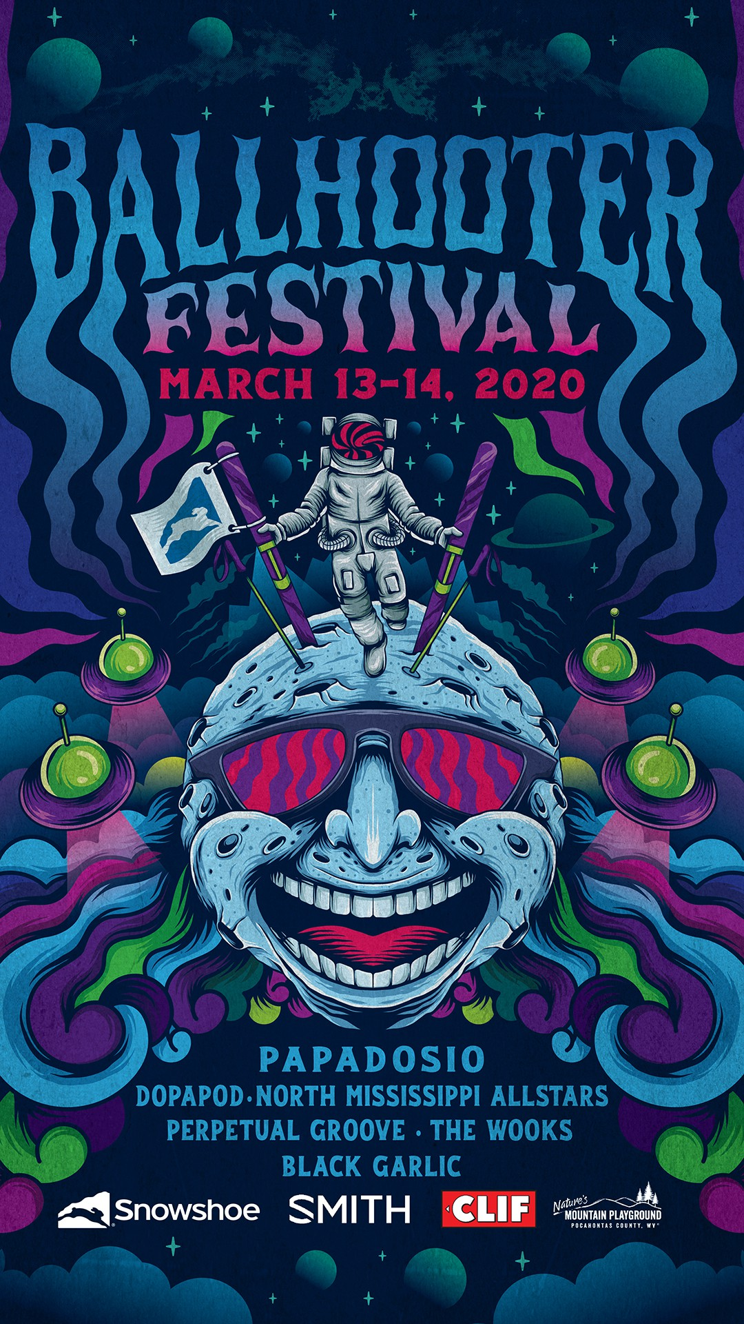 Psychedelic poster illustration for a music festival