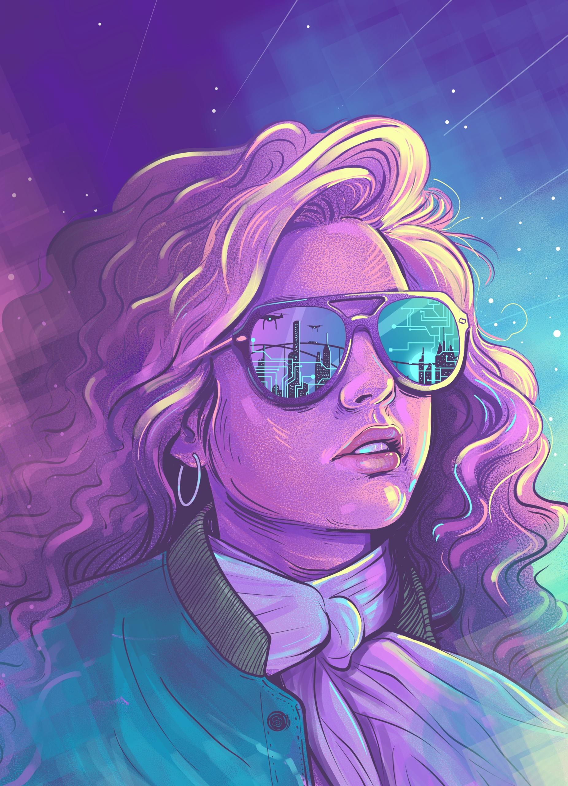Colorful retro futuristic illustration
